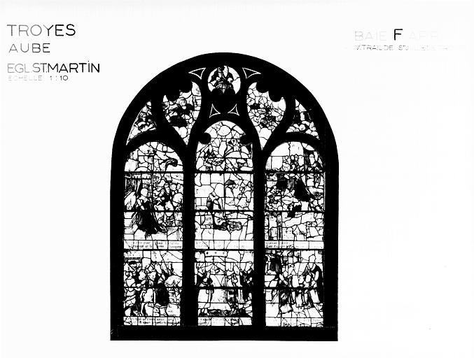 Photomontage de vitrail, baie F : sainte Julie de Troyes, état  après restauration