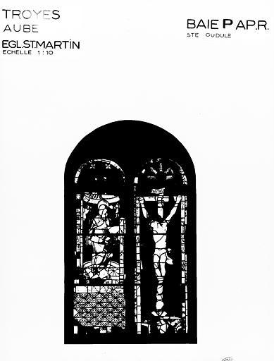 Photomontage de vitrail, baie P : sainte Gudule, état après  restauration