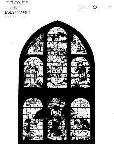 Photomontage de vitrail, baie Q : Transfiguration, état après  restauration