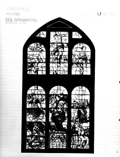 Photomontage de vitrail, baie U : le Calvaire, état après  restauration