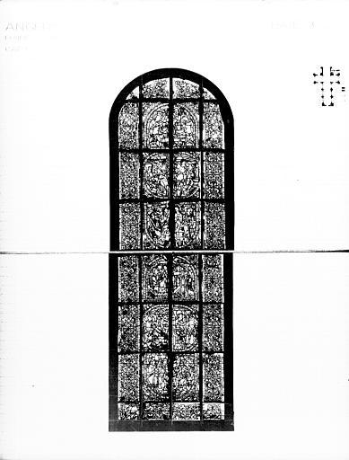 Photomontage de vitrail : baie 3, Vie de sainte Catherine, état  avant restauration