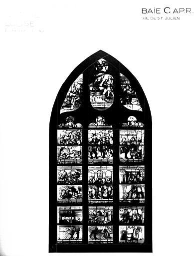 Photomontage de vitrail, baie C : Vie de saint Julien, état après  restauration