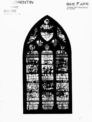 Photomontage de vitrail, baie F : les Deux saint Jean, état après  restauration