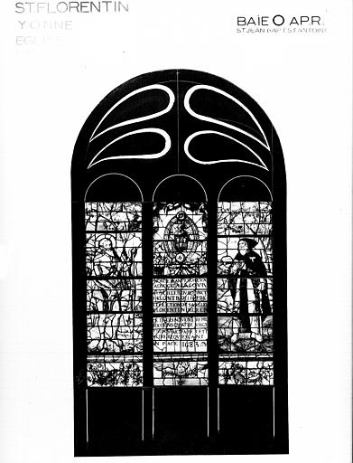Photomontage de vitrail, baie O : saint Jean-Baptiste, saint  Antoine, état après restauration