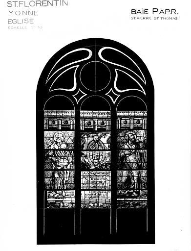 Photomontage de vitrail, baie P : saint Pierre, saint-Thomas, état  après restauration