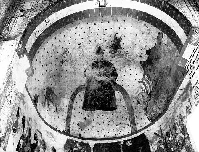 Choeur, peintures murales de la voûte en cul-de-four : Christ sur  l'arc entouré du Tétramorphe