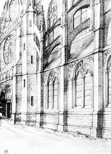 Dessin : pignon du croisillon nord et deux travées de la nef