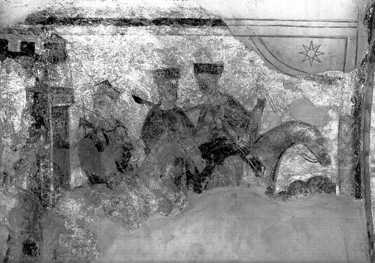 Croisillon nord, paroi nord de la chapelle absidiale, peintures  murales : les Rois Mages