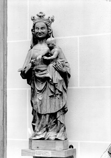 Statue de bois : Vierge à l'Enfant