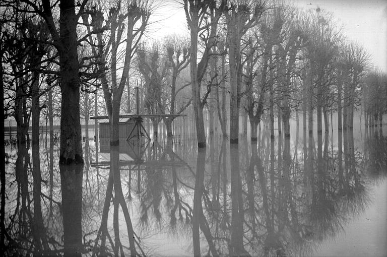 Vue générale des inondations, le 24 janvier 1956
