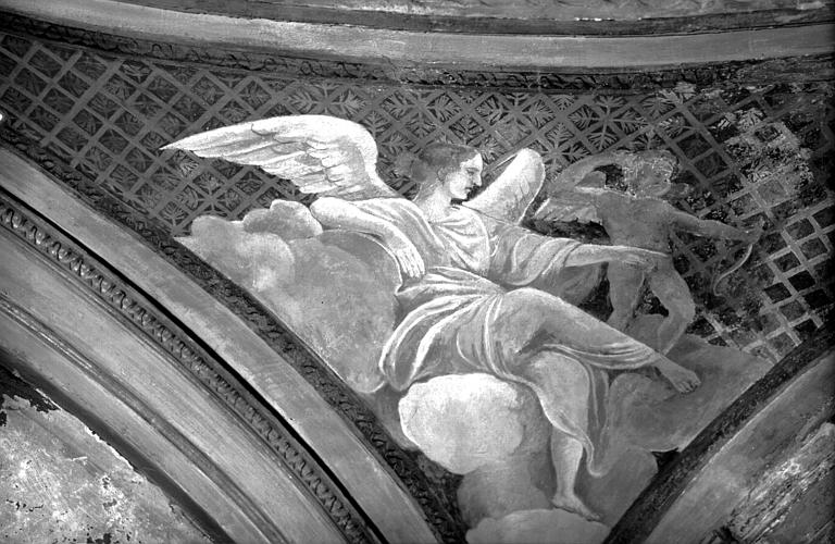 Restauration d'un écoinçon du plafond de la Chambre de Sully
