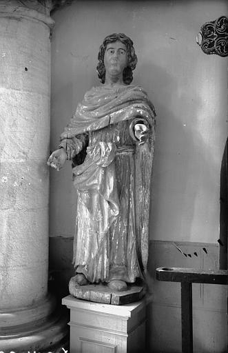 Statue en bois peint : saint Damien