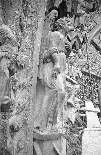 Portail central de la façade ouest, troisième voussure gauche, troisième rangée : ange, profil droit