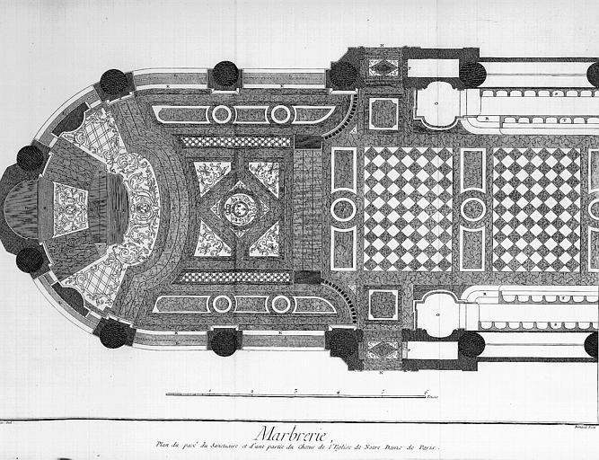 Plan du pavé du sanctuaire et d'une partie du choeur
