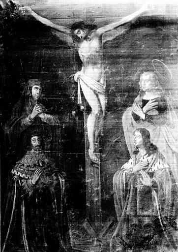 Peinture sur toile : Crucifixion, état avant restauration