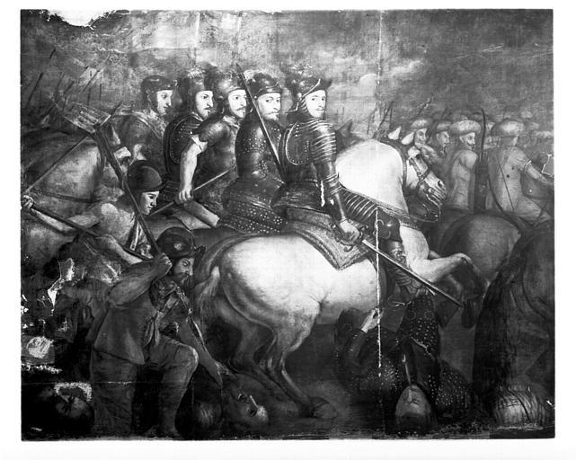 Peinture sur toile : Scène de bataille, Scène de la vie de saint  Vidien