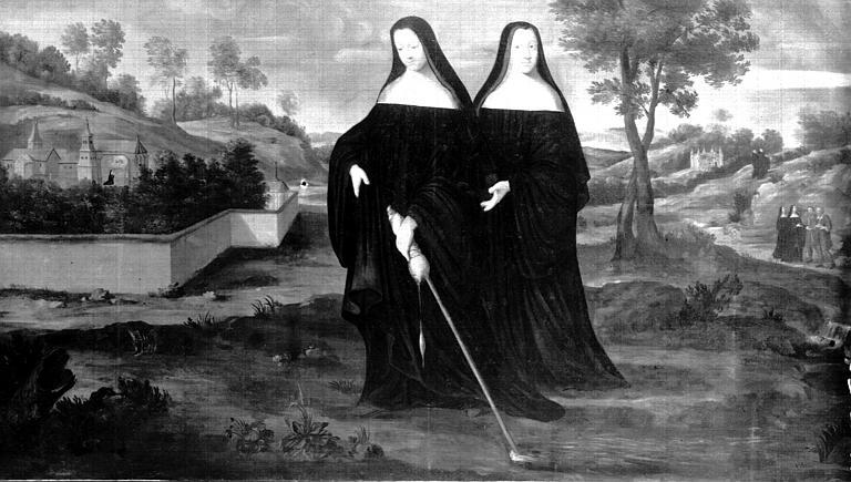 Peinture sur toile : Deux religieuses dans un paysage, état après  restauration