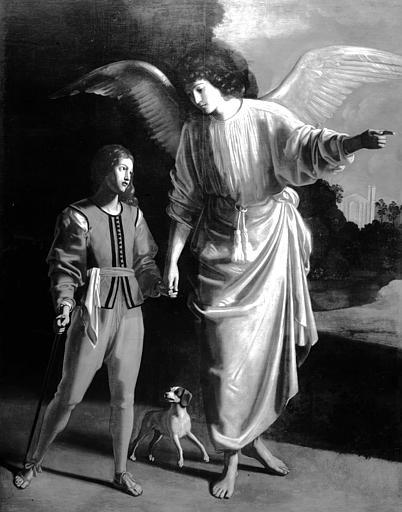 Peinture sur toile : Tobie et l'ange, état après restauration