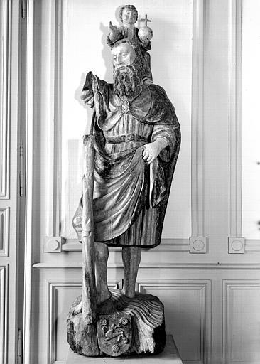 Statue (grandeur nature) : saint Christophe portant l'Enfant Jésus