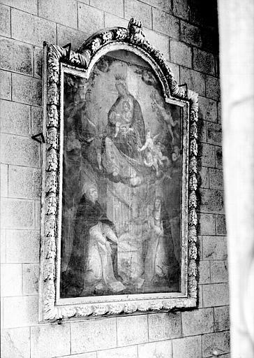 Chapelle, peinture sur toile avec cadre : Vierge du Rosaire avec  saint Dominique et sainte Catherine de Sienne