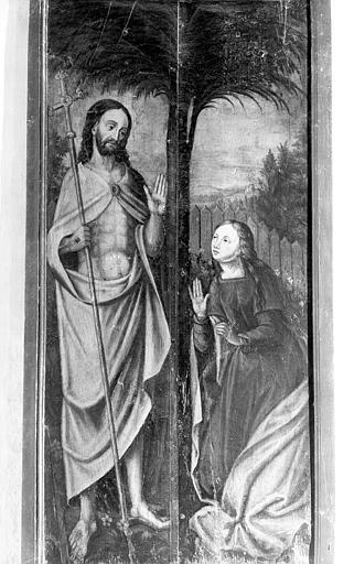 2 volets de polyptyque : l'Apparition du Christ à Marie-Madeleine, la Mise au tombeau