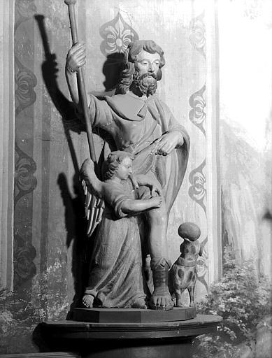 Statue en pierre polychromée de la troisième chapelle nord : saint  Roch