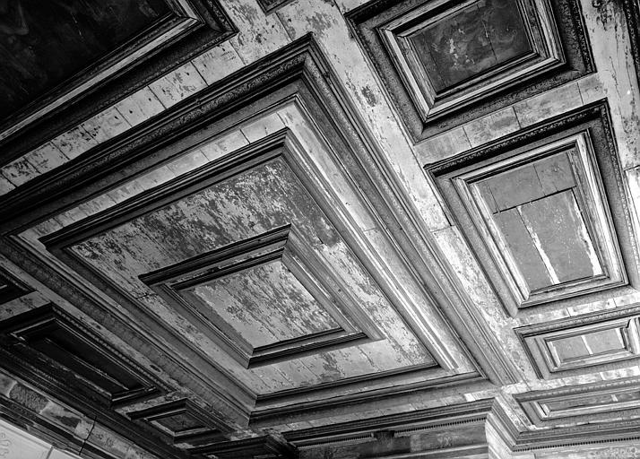 Plafond à panneaux moulurés et peints