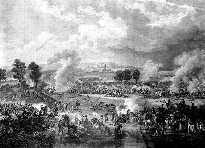 Gravure d'époque Empire, située sur le palier : la Bataille de  Maringo