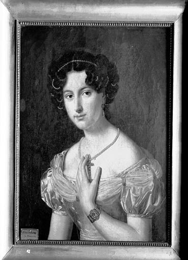 Peinture sur toile située dans la chambre du premier étage :  portrait de femme