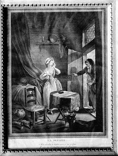 Gravure avec cadre en bois doré, Louis XVI, située dans la chambre  du premier étage : la Défaite