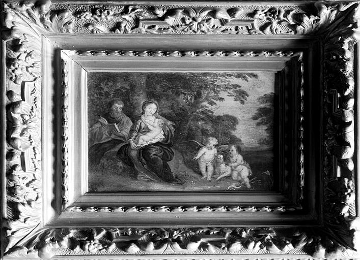 Peinture, situé dans la salle 17e siècle du premier étage : la  Sainte Famille
