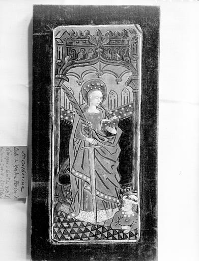 Salle des Consuls, plaque, émail : sainte Catherine