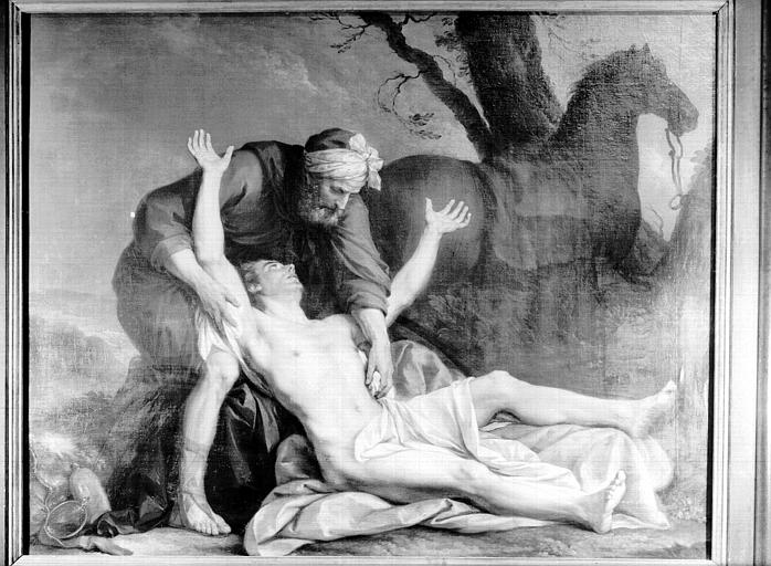 Peinture sur toile : le Bon samaritain