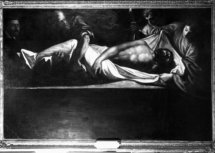 Peinture sur toile situé dans le presbytère : Ensevelissement d'un  martyr
