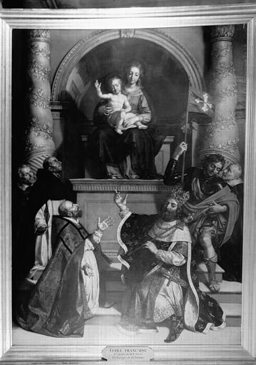 Peinture sur toile : la Vierge adorée par saint Charles, saint  Georges et saint Louis
