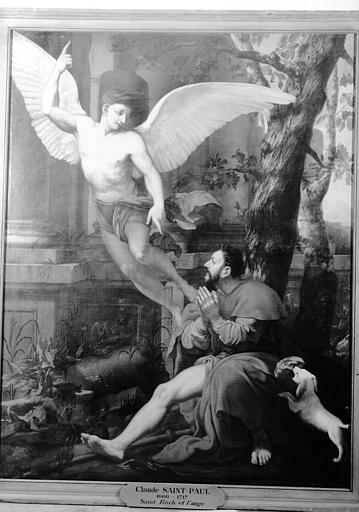 Peinture sur toile : saint Roch et l'ange