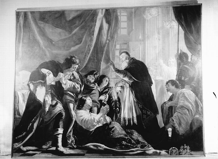 Peinture sur toile : la mort de saint Louis