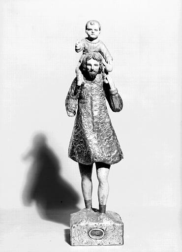 Statuette en bois recouvert de plaques d'argent : saint Christophe