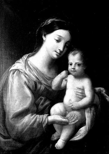 Cadre en bois sculpté et doré de la peinture sur toile : Vierge  aux cerises