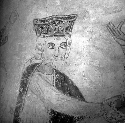 Détail de la peinture murale de l'Adoration des Mages : le premier mage