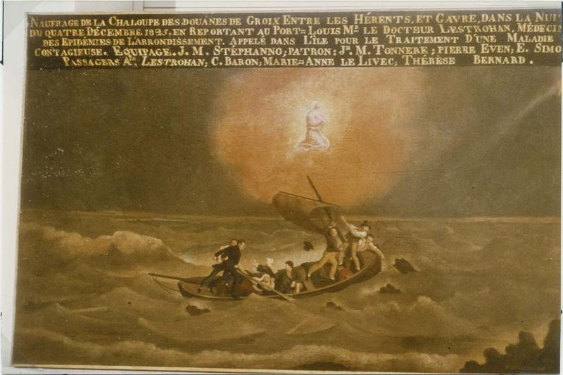 Tableau ex-voto (tableau votif) : naufrage de la chaloupe des douanes de Groix (le), vue générale
