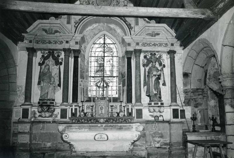Retable du maître-autel, groupe sculpté : Sainte Anne et la Vierge et statue : Saint Eloi