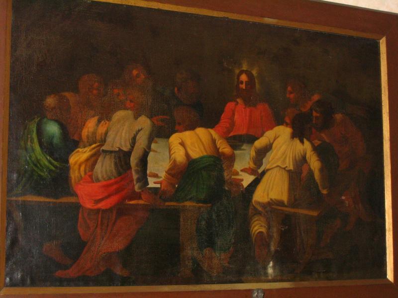 Deux peintures (panneaux peints) : Cène et Lavement des pieds