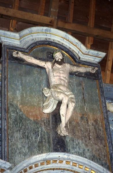 Trois statues : Christ en croix, Saint Jean et Vierge de douleur