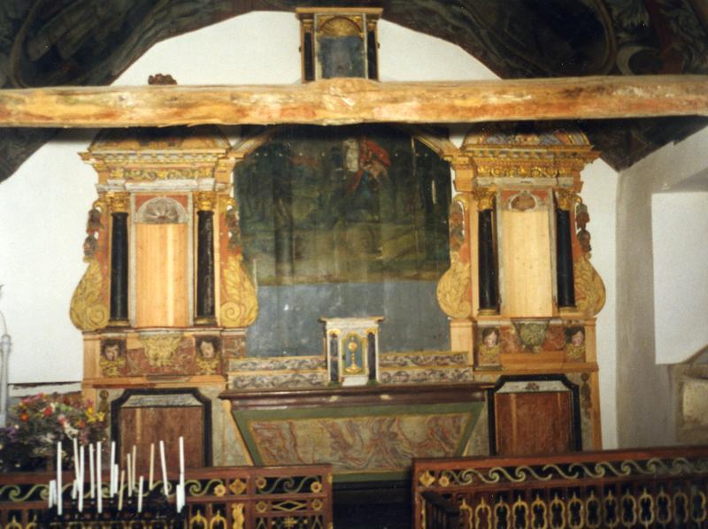 retable, tableau : Meurtre de sainte Tréphine et deux statues : Sainte Tréphine et Saint Louis roi