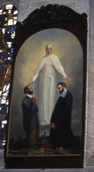 Tableau et son cadre : Pierre de Kériolet et Nicolazic sous la protection de sainte Anne