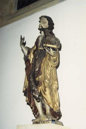 Statue : Saint Jean-Baptiste, bois polychrome, vue de côté