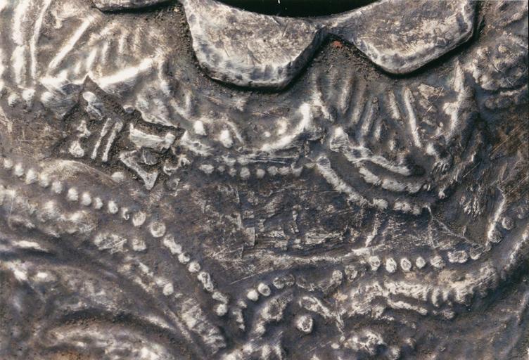 Deux ornements de bâton de Torah ? (rimonim, ornements d'axe), argent gravé et repoussé, 1784, détail du poinçon