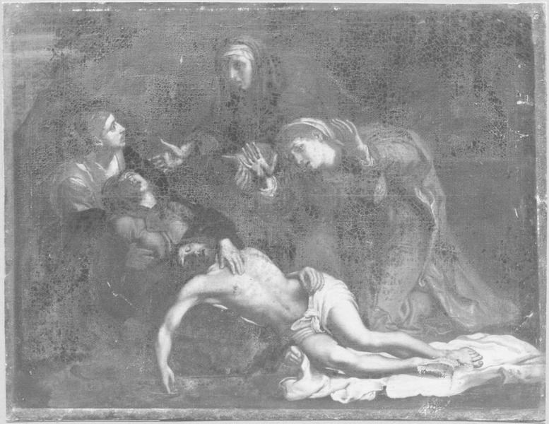 Tableau, cadre : la Déploration du Christ