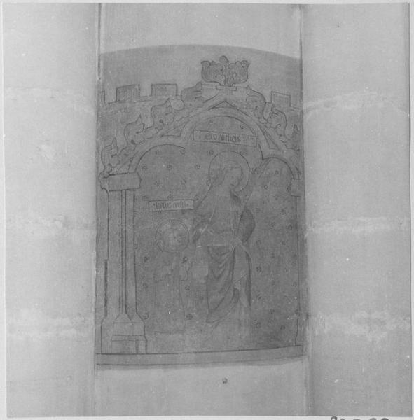 Peinture monumentale : sainte Dorothée et l'Enfant Jésus